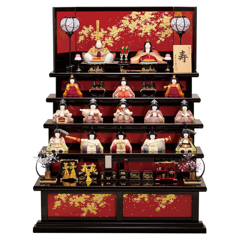 木目込人形 賢一 五段飾り「寿 龍村裂 十五人飾り」