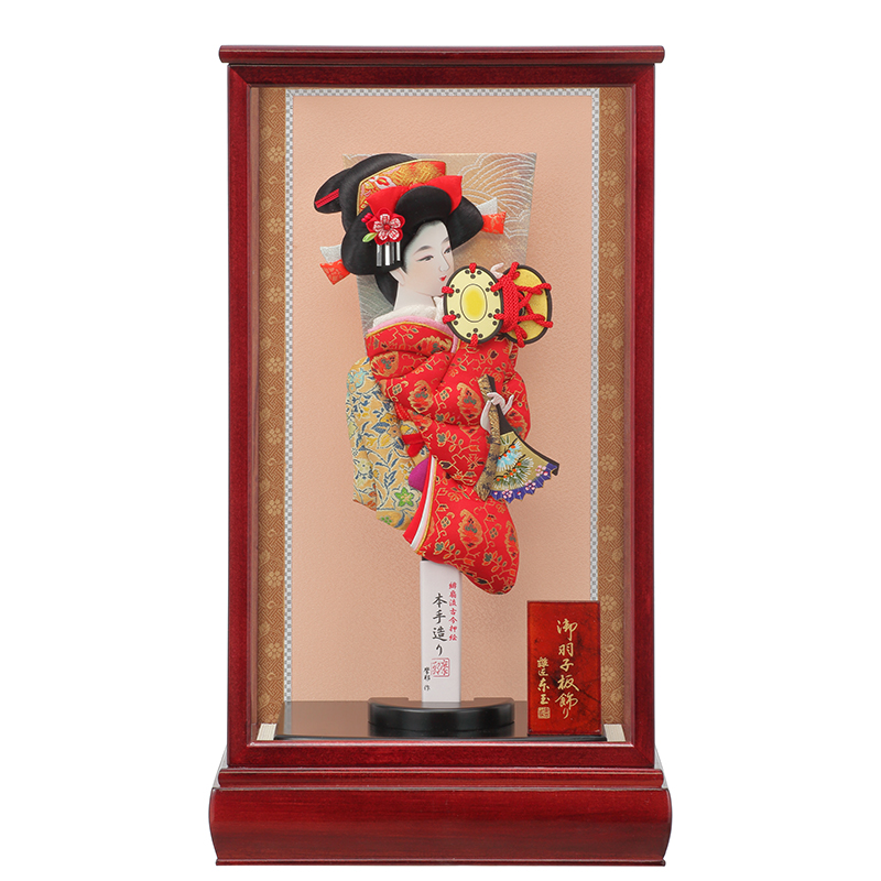 羽子板飾り「13号浅妻龍村思い出赤/マホ」