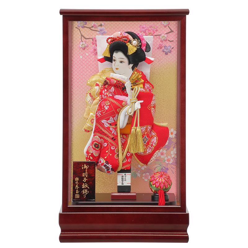 羽子板飾り「10号立体振袖金襴赤/小春」