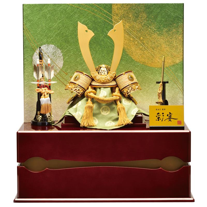 龍村裂 収納 兜飾り「10号 純金箔龍村」
