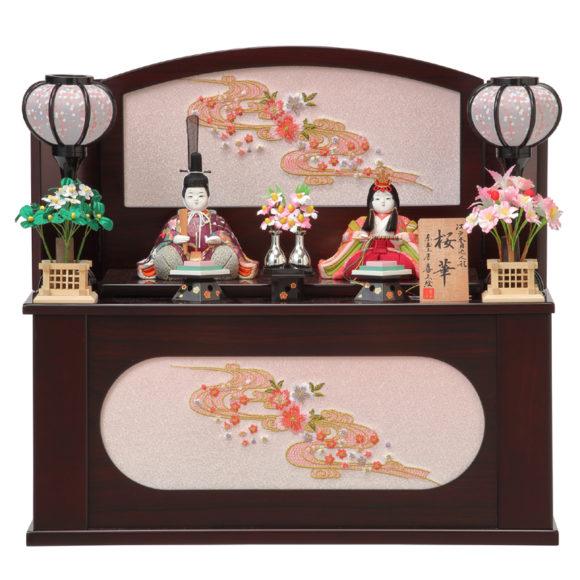 収納飾り木目込雛人形:桜花 No.5 紫