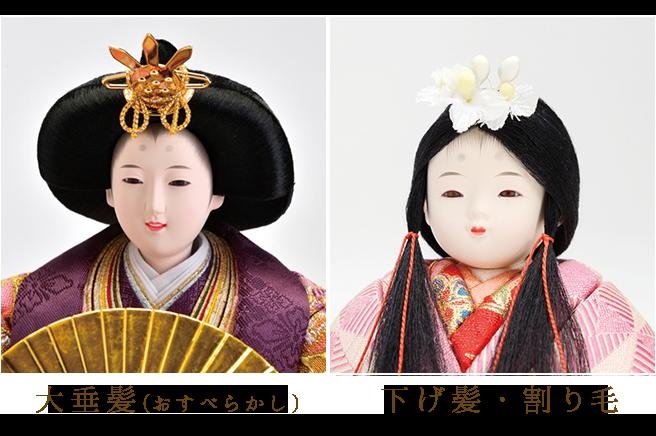 雛人形の最も大切な部分「顔」の印象は髪型で決まります