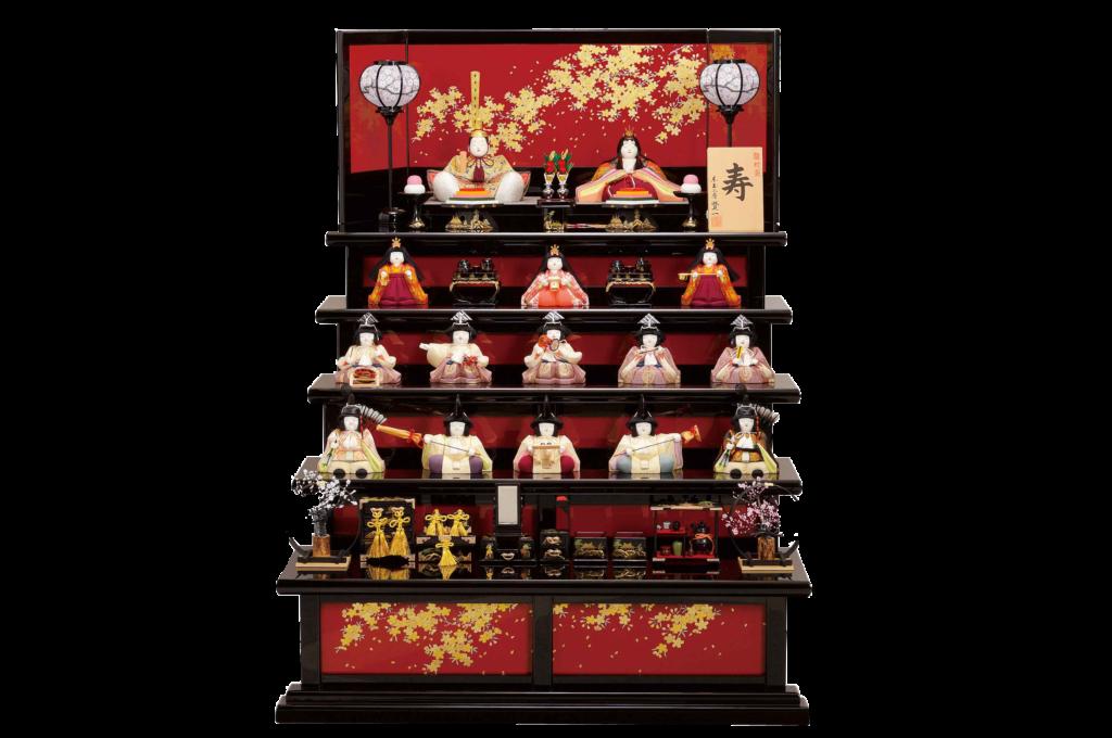 雛人形15人がすべて並んだ圧巻の5段飾り